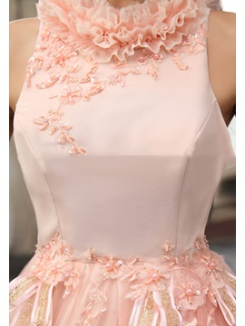 A-Line Jewel Neck Ruffles Sash Appliques Beading Floor-Length Quinceanera Dress
