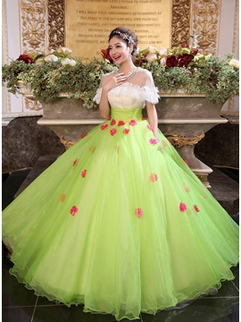 Jewel Neckline Pearls Empire Waistline A-Line Long Quinceanera Dress