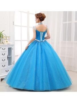 Halter Cap Sleeves Sequins Beading Lace-up Quinceanera Dress