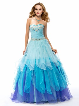 Beaded Sweetheart Tiered Organza Lace-up Long Quinceanera Dress