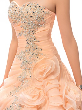 Dazzling Ball Gown Appliques Flowers Beading Long Quinceanera Dress
