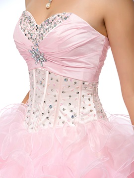 Great Sweetheart Cascading Ruffles Beading Lace-up Long Quinceanera Dress