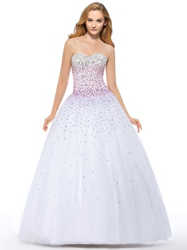 Luxurious A-Line Sweetheart Sequins Beading Lace-up Floor-Length Quinceanera Dress With Jacket/Shawl
