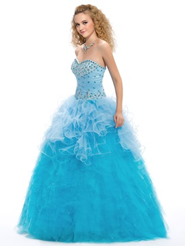 Great Ruffles Sweetheart Beaded Cascading Lace-up Floor Length Quinceanera Dress