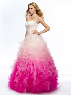 Fine Sweetheart Strapless Beading Ruffles Flowers Long Quinceanera Dress
