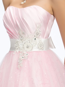 Fine Sweetheart Beading Appliques Sashes Bowknot Long Quinceanera Dress