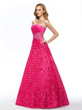 Sweetheart A-Line Flowers Beading Floor-Length Quinceanera Dress