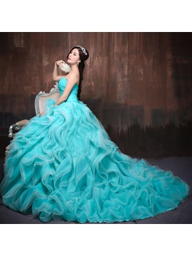 Dramatic Sweetheart Ball Gown Ruched Tiered Lace-up Long Quinceanera Dress