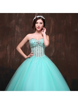 Unique Crystal Sweetheart Beading Sequins Lace-Up Long Quinceanera Dress