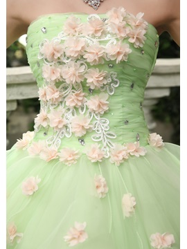 Fine Strapless A-Line Flowers Beading Lace-up Floor-Length Quinceanera Dress
