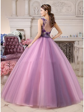 A-Line V-Neck Appliques Tulle Back Floor-Length Quinceanera Dress