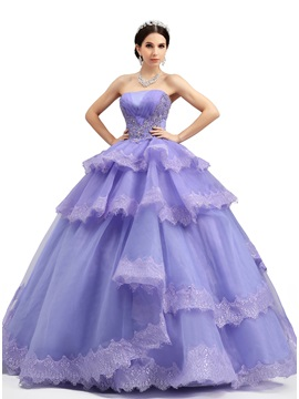 Strapless Ruched Tiered Appliques A-Line Lace-up Long Quniceanera Dress