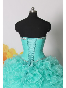Dramatic Ball Gown Sweetheart Cascading Ruffles Beading Lace-up Quinceanera Dress