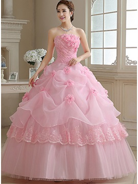Dramatic Ball Gown Strapless Flowers Appliques Pearls Lace-up Quinceanera Dress