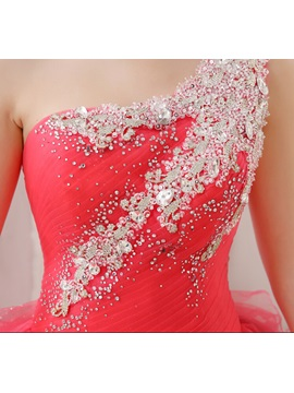 One-Shoulder Ball Gown Crystal Beading Lace-up Quinceanera Dress