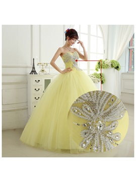 Pretty Ball Gown Sweetheart Crystal Sequins Lace-up Quinceanera Dress