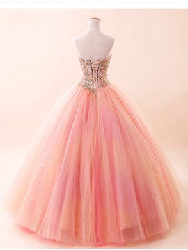 Exqusite Beaded Sweetheart Appliques Lace-up Ball Gown Quinceanera Dress