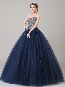 Ball Gown Shining Sweetheart Sequins Beaded Lace-up Quinceanera Dress