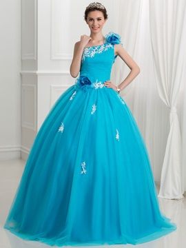 One Shoulder Flowers Appliques Quinceanera Dress