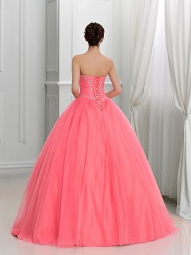 Pretty Sweetheart Beading Lace-Up Tulle Quinceanera Dress