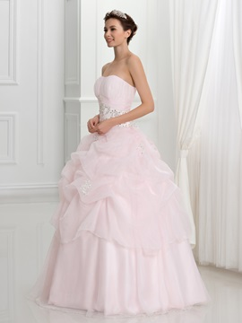 Strapless Pick-ups Appliques Sequins Ball Gown Quinceanera Dress