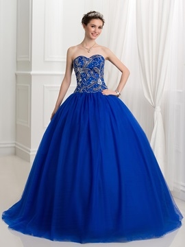 Ball Gown Tulle Sweetheart Beading Lace-Up Quinceanera Dress