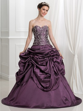 Vintage Sweetheart Pick-Ups Embroidery Sequins Ball Gown Quinceanera Dress