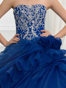 Vintage Strapless Embroidery Sequins Pick-Ups Ball Gown Quinceanera Dress