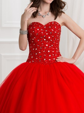 Sweetheart Sequins Beading Red Quinceanera Dress