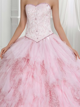 Pretty Beading Tiered Lace-Up Ball Gown Quinceanera Dress With Jacket/Shawl