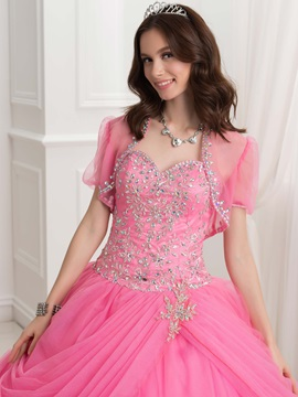 Pretty Sweetheart Embroidery Beading Ball Gown Quinceanera Dress With Jacket/Shawl
