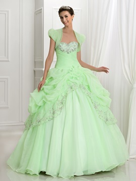 Glamorous Sweetheart Embroidery Beading Ball Gown Quinceanera Dress With Jacket/Shawl