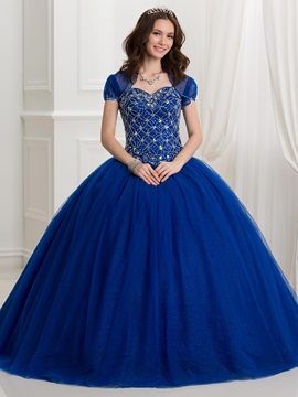 Dramatic Sweetheart Beading Lace-Up Ball Gown Quinceanera Dress With Jacket/Shawl