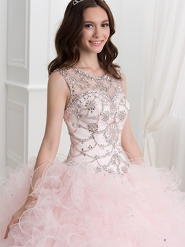Dramatic Ball Gown Straps Beading Ruffles Quinceanera Dress