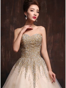 LuxuriousSweetheart Sequined Beaded Lace-up Long Quinceanera Dress