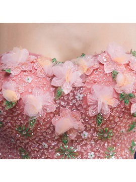 Dramatic Strapless Flowers Sequins Asymmetrical Quinceanera Dress