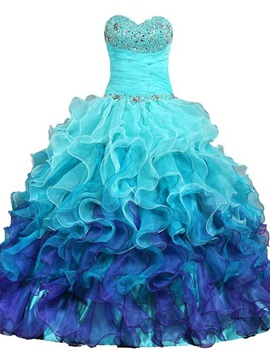 Drmatic Sweetheart Beaded Ruffles Floor-Length Quinceanera Dress