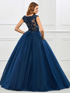 Vintage Jewel Ball Gown Cap Sleeves Appliques Beaded Floor-Length Quinceanera Dress