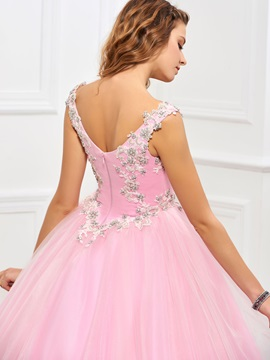 Delicate Scoop Ball Gown Appliques Beading Floor-Length Quinceanera Dress