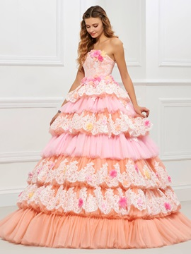 Unique Strapless Ball Gown Appliques Lace Tiered Quinceanera Dress