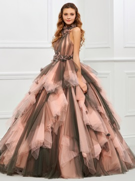 Unique Halter Ball Gown Pleats Floor-Length Quinceanera Dress
