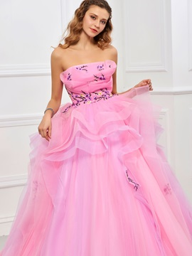 Nice Strapless Ball Gown Embroidery Pleats Floor-Length Quinceanera Dress