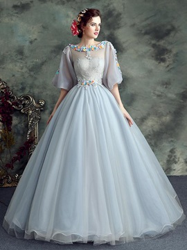 Dramatic Bateau Ball Gown Half Sleeves Appliques Lace Floor-Length Quinceanera Dress