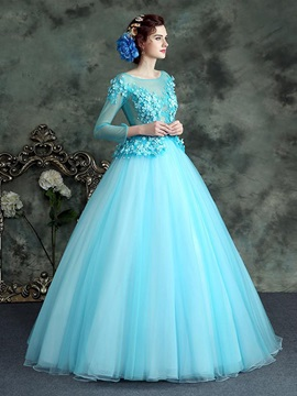 Bateau Beading Lace Quinceanera Dress