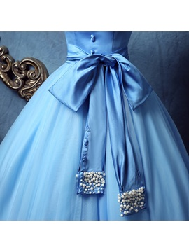 Strapless Bowknot Button Pearls Quinceanera Dress