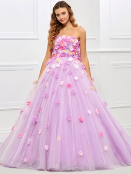 Lovely Strapless Ball Gown Bowknot Flowers Floor-Length Quinceanera Dress