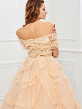 Nice Off-the-Shoulder Ball Gown Appliques Tiered Floor-Length Quinceanera Dress