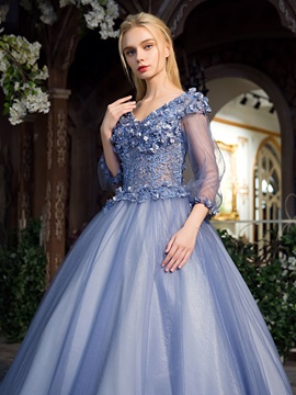 V-Neck Lace Pearls Floor-Length Quinceanera Dress