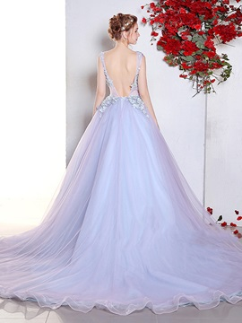 Charming Scoop Ball Gown Appliques Lace Pearls Sweep Train Quinceanera Dress