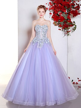 Fancy Sweetheart Flowers Ball Gown Appliques Lace Floor-Length Quinceanera Dress